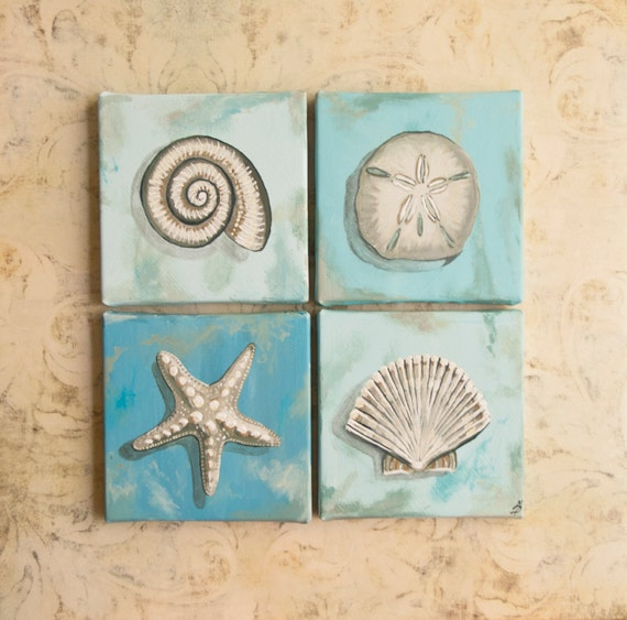 Seashells square wall art 16x16 acrylic painting shades of for Paintings for bathroom decoration