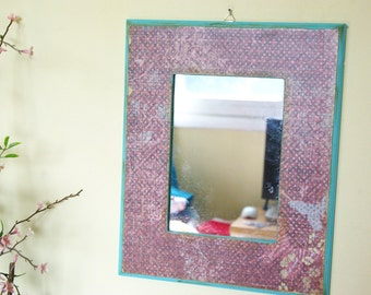 5X7 Mirror, Distressed, Teal and Brown, Wall Decor