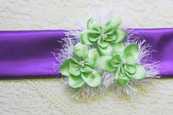 Flowergirl Sash - Purple Satin Sash - Purple Wedding - Satin Sash - Purple Lime Wedding - Sash - Wedding Sash - Purple Sash - Bridal Sash