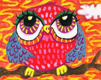 Owl Decor, Owl Art, Funny Animal Art, Whimsical Owl Art, Girls Room Decor, Boys Room Decor, Chubby Red Owl  by Paula DiLeo