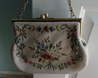 Great needlepoint purse cream colored perfect for a bride