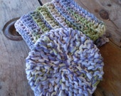 Crochet Cotton Facial Cloth / Facial Scrubbie Set - Hand Made, Cotton Yarn & Tulle - Countryside Ombre' - ECO Friendly - 9 inch Wash Cloth