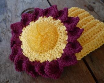 Burgundy/Yellow Sunflower Scrubbie / Cotton Cloth Set- Mesh Net Scrubbie 100% Cotton Yarn Non Abrasive - Kitchen / Bath - Holiday Gift Set