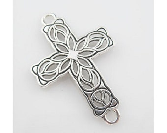 3 Lovely Detailed CROSS Bracelet Connectors Filigree Design Atq Silver Tone Jewelry Connector 42x27 mm