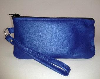 Handmade -Metallic Royal Blue Leather Wristlet - Limited Edition Color