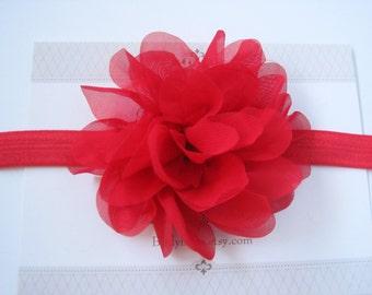 Red Chiffon Headband, Baby Headbands, Baby Girl Headbands, Baby Girl Headbands, Infant Headbands, Baby Bows