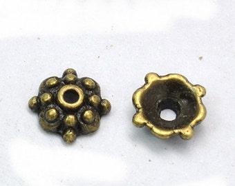 24 pc 8mm antique bronze metal bead caps-6948