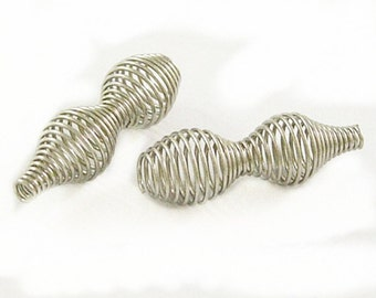 12pc  28x10mm nickel look Spring Beads-8193