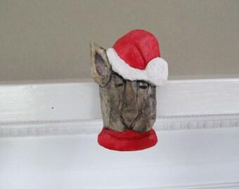 Dog Christmas Ornament  Stocking Stuffer Hand Carved Shelf Sitter Mantel Sitter Gift for Dog Lover Holiday Ornament Birthday Christmas Gift