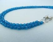 Ocean blue eye glass chain in Czech fire polished crystal beads - reading glasses - glasses chain - glasses leash - glasses holder