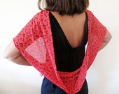 Red, Heart-Patterned,  Women Scarves, Women's Fashion Accessories, Chiffon Scarves, perfect Gift For Women For Girl Friend