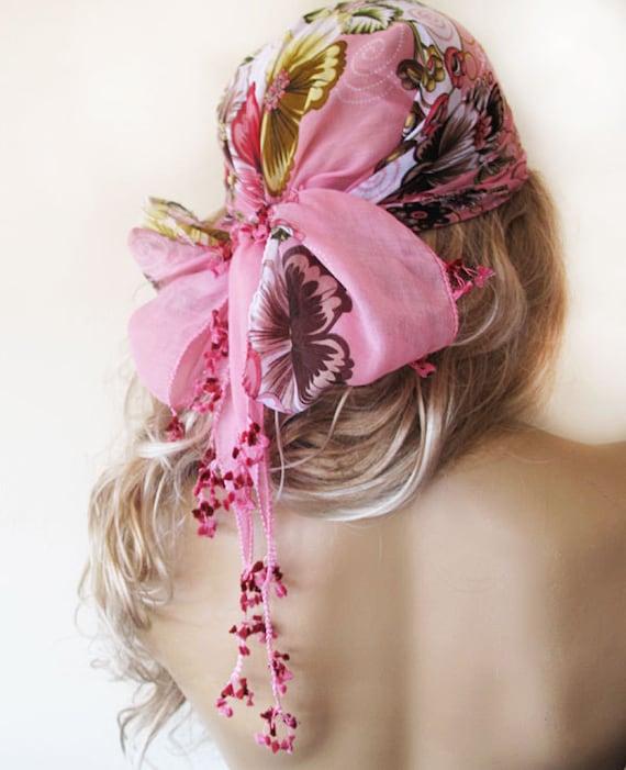 Pink Floral Pattern Headband ,  Bohemian Head Turban Women's Head Wrap,Gypsy, TURKISH traditional embroidered scarfs