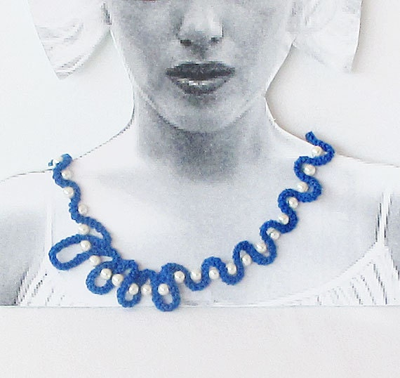 Dark Blue, Crochet  jewelry, Lace Anglez Necklace, Meandering Shapes, White Glass Pearl, Designer Jewelry