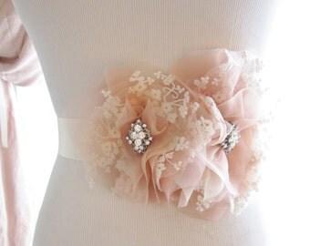 Blush Pink and Ivory Lace Silk organza Flower Sash, Bridal belt, Bridal sash, Wedding Sash
