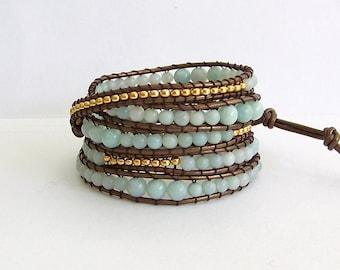Beaded Leather Wrap Bracelet - Amazonite, Aqua Amazon Stone, Gold Beads, Metallic Leather - Boho Chic
