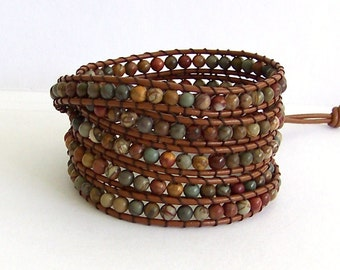 Leather Wrap Bracelet - Red Creek Jasper semi-precious Stones, Brown Leather - Artisan Boho Chic