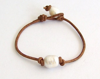 Beach Jewelry - Pearl Leather Wrap Bracelet or Anklet - Freshwater Pearls, Natural Brown Leather - Boho Beach Treasure