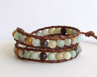 Leather Wrap Bracelet with Amazonite Stones on Brown Leather