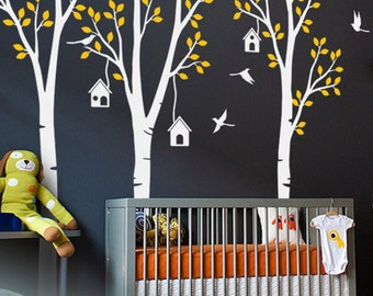 "Baby Nursery Wall Decals - Birdhouse Trees Decal - Tree Wall Decal - Tree Wall Decals - Tree Wall Decal with Deer - Large: 96"" x 93"" - KC021"