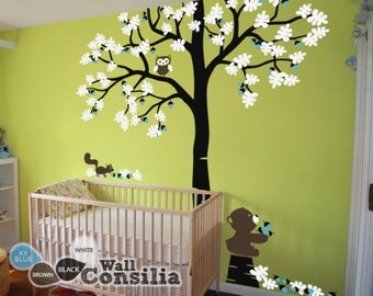 "Baby Nursery Tree Wall Decal Tree Decals Tree Wall Decal with Teddy - Large: approx 93"" x 85"" - KC031"
