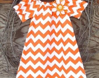 Girls Orange Chevron Dress, Girls Peasant Dress, Girls Spring Dress, Kids Chevron Dress,