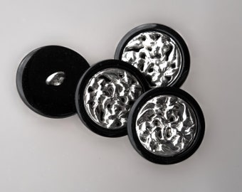 """10 Vintage 7/8"""" Heavy Silver Metal and Black Plastic Shank Buttons. Abstract Center Design. Jackets, Coats. Item 1229MP"""