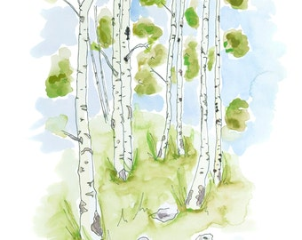 Watercolour Birch Grove 1 Print