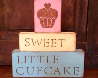 Sweet Little Cupcake Blocks // girl nursery decor cute pink blue yellow tan