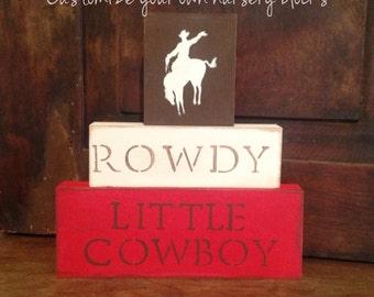 N U R S E R Y // Cowboy Nursery Blocks little boys nursery horses red brown room decor western Rustic