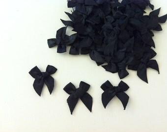 100PCS of Satin Ribbon Bow Applique Embellishments Black Bows - 10mm width