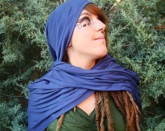 Elf hood . Viscose blue. 3 positions:cardigan jacket, hooded scarf, and top