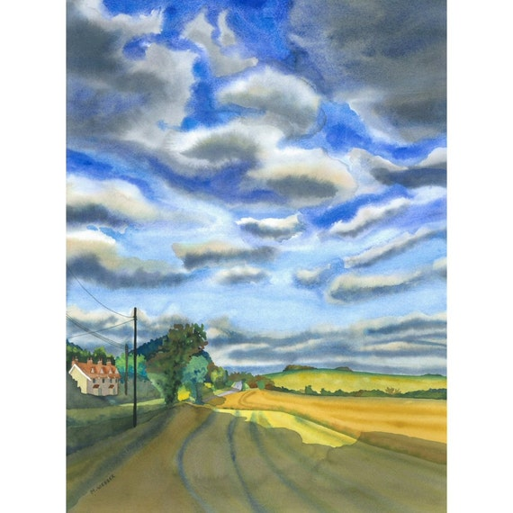 Dramatic Landscape Painting,  Limited Edition Giclee Print of Suffolk, England