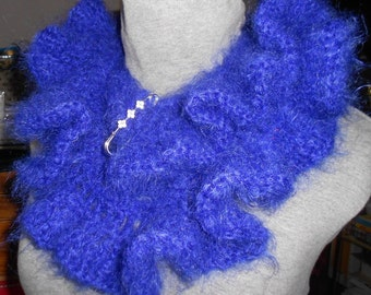 CROCHET SCARF, neckwarmer with strass brooch, bluette purple