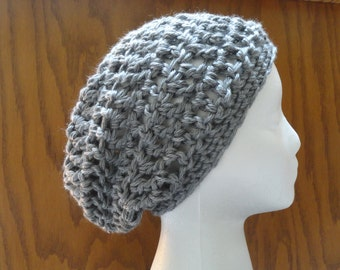 Crochet CLASSIC Slouchy Beanie Hat  Acrylic Heather Gray 22 Colors Women Teen  Beret Tam