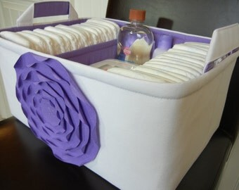 """Ex Large Diaper Caddy-14""""x 10""""x 7""""(CHOOSE COLORS)Two Dividers-Baby Gift-fabric Fabric Storage Organizer-""""Lavender Rose on White"""""""