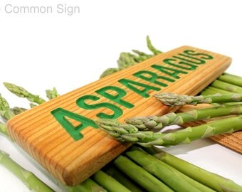 ASPARAGUS Garden Sign, Painted & Oil Sealed Cedar Wood: Hand Routed, Vegetable Plant Markers, Custom Garden Sign, Personalized Marker