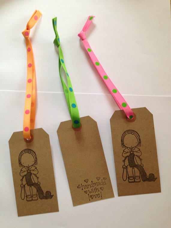 Knitting Gift Tags : Items similar to knitting handmade with love gift tags
