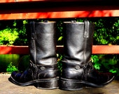 Harley Davidson Boots 1980s Vintage Black Leather Harness Boots Womens 8.5 D Snub Nose Toe Bar & Shield Motorcycle Boots Biker Babe USA