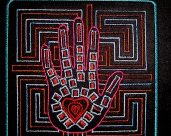 """Patch Embroidered Hand Heart 5"""""""