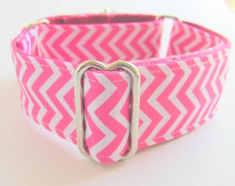 Pink and White  Chevron Dog Collar - Wide Greyhound Martingale - Smart Dogs Only