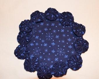 Christmas Blue Snowflake Fabric Yoyo Candle Mat Doiley