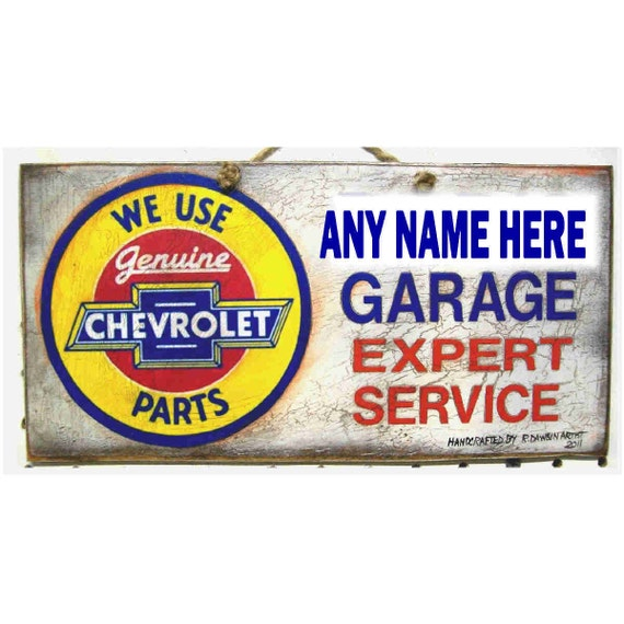 Personalized Garage Signs : Special personalized garage sign and handsigned chevy muscle