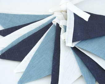 Bunting / Fabric Flag Banner / Pennant Nursery / Porch / Patio Decor / Photo Prop / Light Teal / Black Blue / Ivory