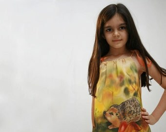 Hedgehog hand painted dress.  Painted dress for kids .  Made to order.