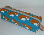 Pencil Case / Pencil Pouch / Zipper Pencil Case - Fox with Blue Background