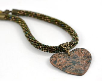 """Rustic Necklace & pendant  """"Heart"""" Bead Crochet Necklace of Polymer Clay Brown Dark Green Emerald Modern Jewelry Beadwork Made to order"""