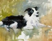 Collie Fine Art Giclee Print - Pet Painting Print - Custom Pet Portrait by Jennifer Brandon - Dog Art - Giclee digital print
