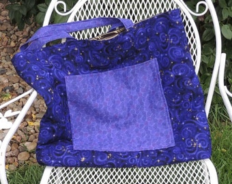 Purple Tote Bag with Gold Stars and Bronze Metallic Lining