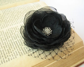 Black Flower Hair Clip, Wedding Accessory, Organza Flower, Black Bridal Head Piece, Fascinator with French Netting