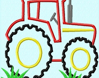Tractor APPLIQUE Embroidery Design 3 sizes  INSTANT DOWNLOAD